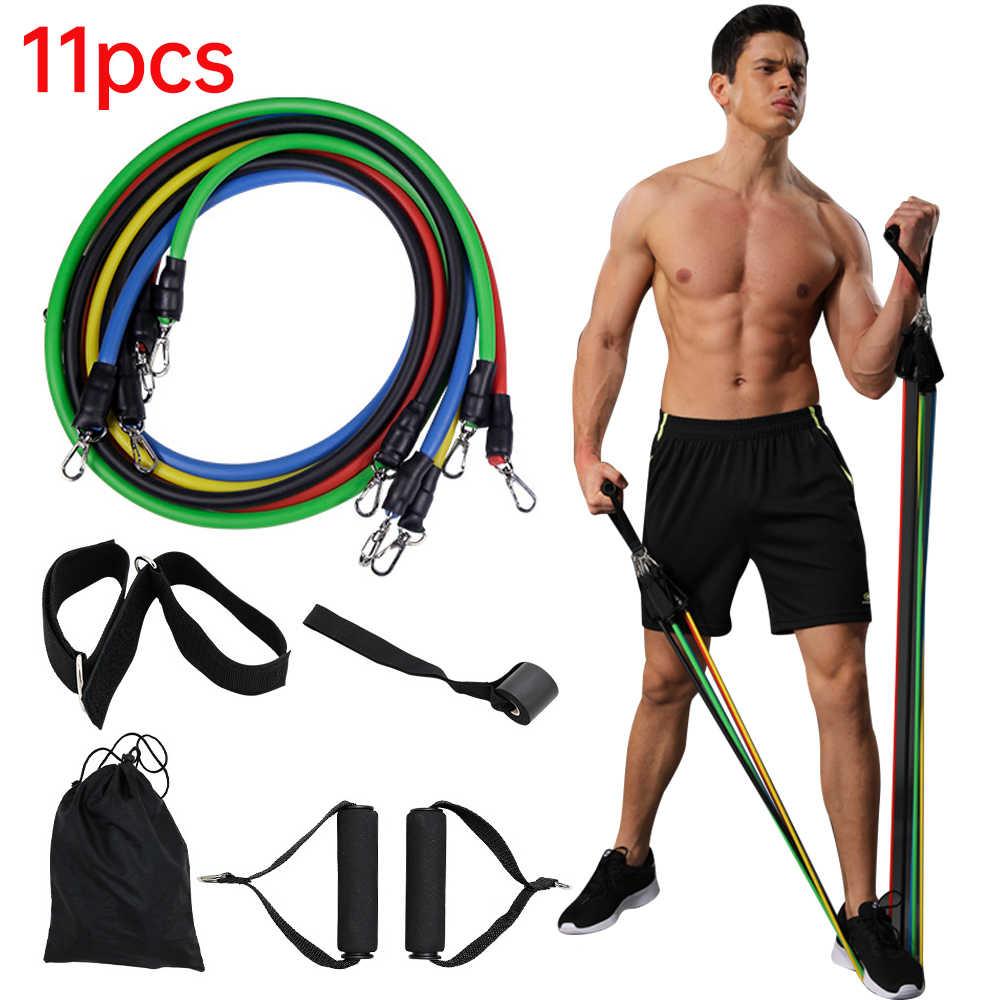 11Pcs//Set Pilates Yoga Latex Tubing Expanders Elastic Resistance Fitness Equipment Band for Home Exercise Strength Training