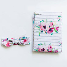 infant cute flowers printing White stripe Infantees+Headband