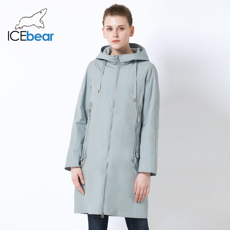 ICEbear 2019 New Hooded Women Jacket High Quality Long Ladies Jacket Large Pocket Design Ladies Jacket Brand Women's GWC19085I