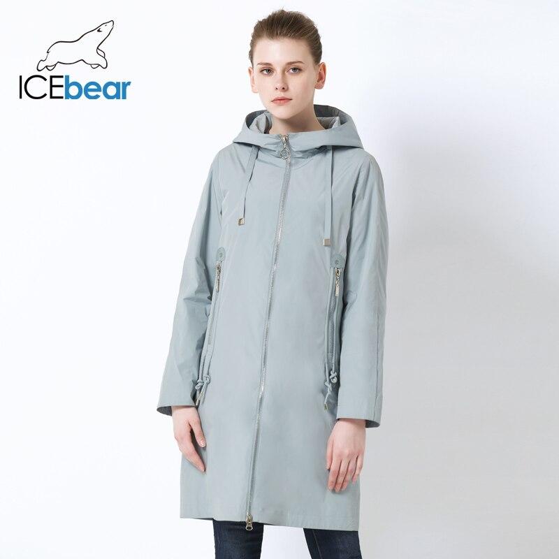 ICEbear 2019 New Hooded Women Jacket High Quality Long Ladies Jacket Large Pocket Design Ladies Jacket Brand Women's GWC19085I