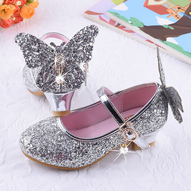 Children Shoes For Princess Sandals Fashion Girls High Heel Kids Shoes Glitter Leather Butterfly Girls Party Dress Wedding Dance