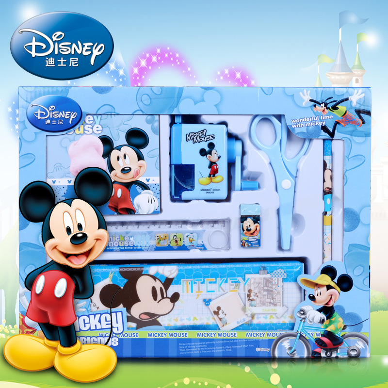 Disney Mickey Minnie Cartoon Stationery Set Pencil Case Pencil Sharpener Mickey Multifunction Stationery Boy Girl Holiday Gift