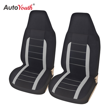 High Back Car Seat Covers Gray and Black Universal Fits 2pcs Front Bucket Seat,Fit for Cars, Trucks, SUVs, Vans