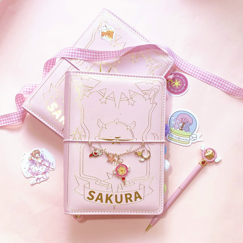 Japanese Sakura Loose-leaf Diary Notebook Kawaii Travel Journal Handbook Spiral Pink A6 Planner Organizer Agenda Bullet Journal