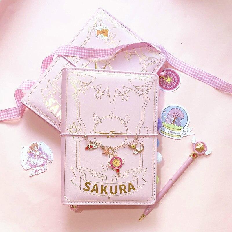 Japonês sakura loose-leaf diário caderno kawaii viagens diário manual espiral a6 diário planejador organizador bala rosa diário