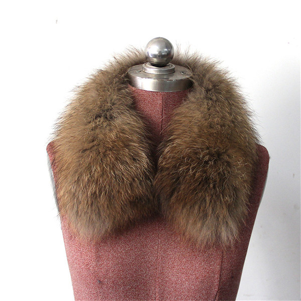 Женский шарф теплый подарок из меха енота ожерелья для куртки шарфы Banand Schal теплый натуральный зимний меховой шарф для женщин - Цвет: Natural Color