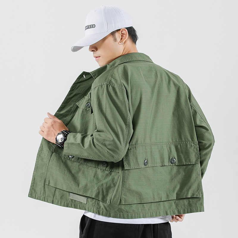 גברים Streetwear רב כיס מוצק Loose מעילי מטען סתיו אופנה היפ הופ Harajuku סגנון כותנה מזדמן מעיל מעילים