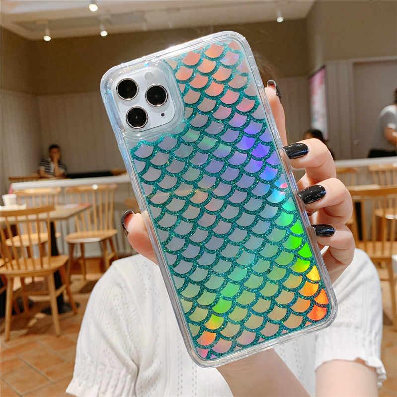 Bling liquide dynamique sable mouvant Laser sirène poisson écailles paillettes brillant étuis de téléphone pour iPhone X XS MAX XR 7 8 6 6S plus ...