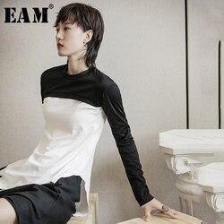 Женская футболка с длинным рукавом EAM, черная, белая, с Боковым Разрезом, с круглым вырезом, весенне-осенняя, 2020