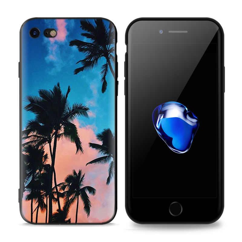 สีดำยางซิลิโคนสำหรับ iPhone XS XR X 7 8 6 6S 5C 5E 5S 5 Plus Max Shell Fundas Coque Core ฤดูร้อน Palms S