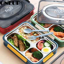 ONEUP Portable Lunch Box 304 Stainless Steel Japanese Bento Box 2020 Compartment Kitchen Sealed Food Container Gift Tableware new japanese kids lunch box 304 stainless steel bento lunch box with compartment tableware microwave food container box 2020