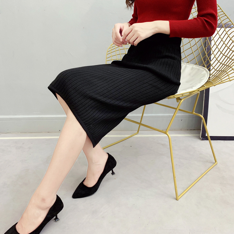 Photo Shoot New Style Button Knitted Skirt Women's High-waisted Sheath Slit One-step Skirt Mid-length Yarn Skirt