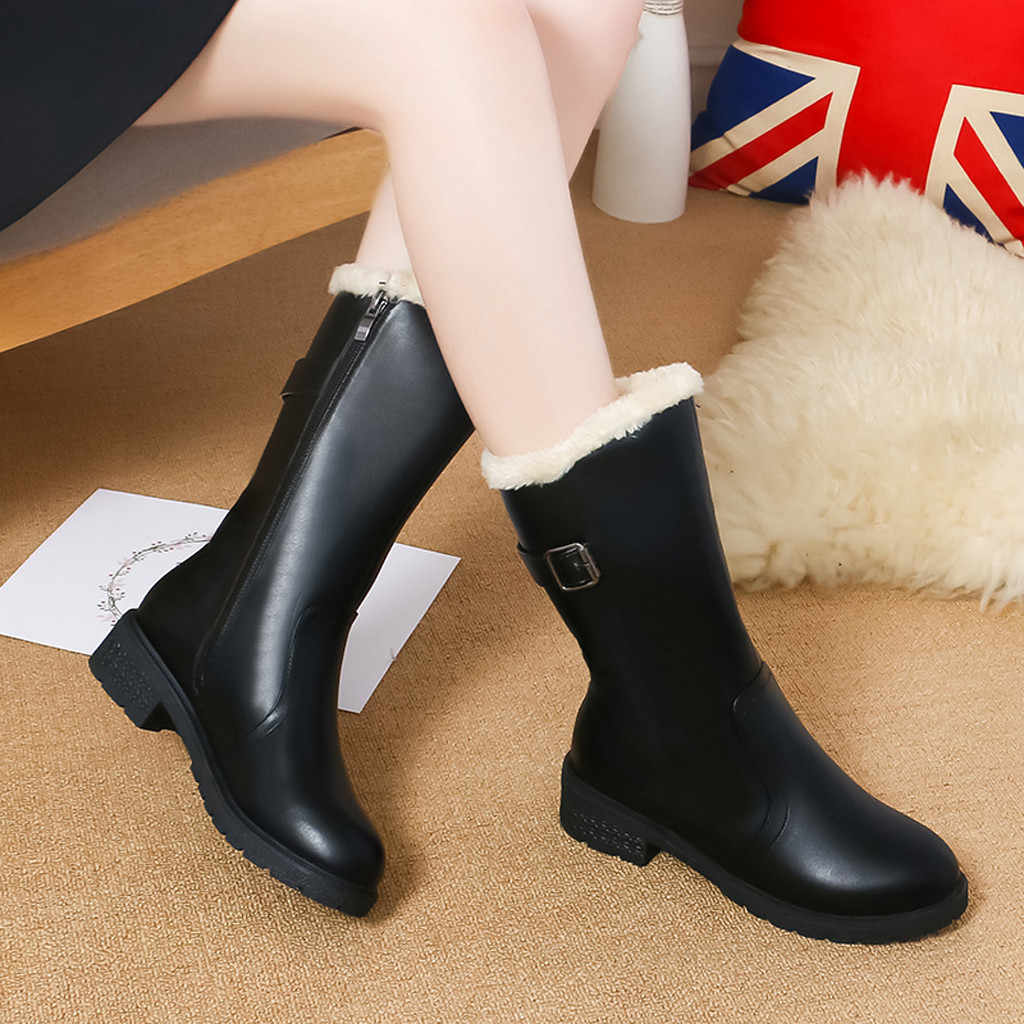Buckle Strap Boots Women Leather Winter Solid Color Mid-Calf Snow Rain Ladies Footwear Keep Warm Winter Shoes Botines Mujer 2019