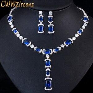 Image 1 - CWWZircons luksusowe długi dynda spadek ciemny niebieska cyrkonia sześcienna kobiet Party kolczyki naszyjnik biżuteria ślubna dla nowożeńców zestawy T356