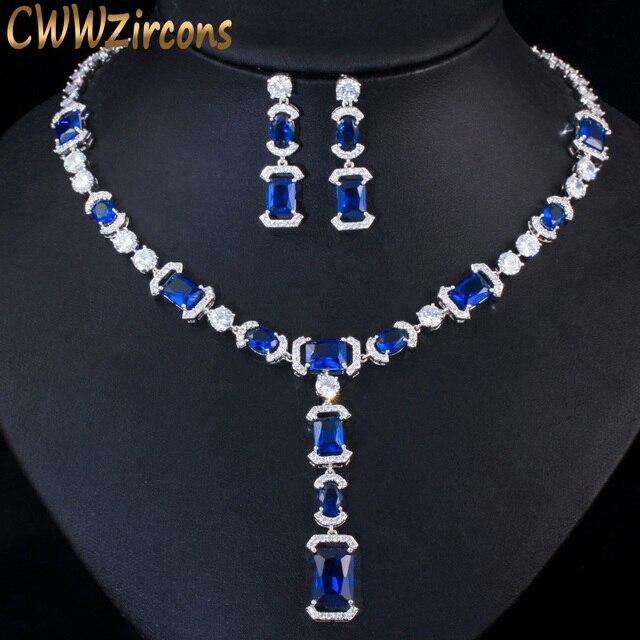 CWWZircons luksusowe długi dynda spadek ciemny niebieska cyrkonia sześcienna kobiet Party kolczyki naszyjnik biżuteria ślubna dla nowożeńców zestawy T356