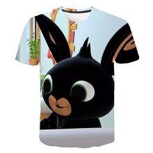 Crianças casuais topos dos desenhos animados coelho camiseta crianças bonito bing t camisa meninos meninas o-pescoço roupas infantis verão engraçado t-shirts