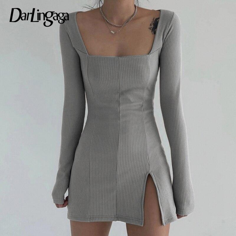 Darlingaga Elegant Square Neck Ribbed Black Dress Female Knitted Side Split Bodycon Dress Long Sleeve Fashion Mini Dresses Basic 11