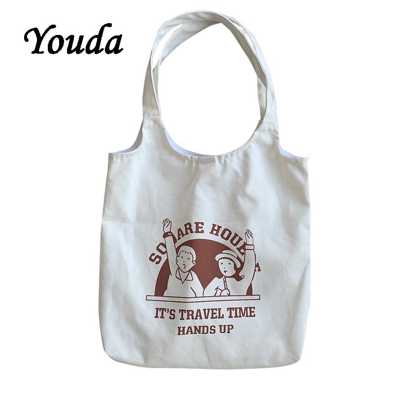 Youda New Original Fashion Women Handbag Cute Ladies Canvas Shoulder Bags Classic Female Tote Bag Vintage Style Design Handbags|Top-Handle Bags|   - AliExpress