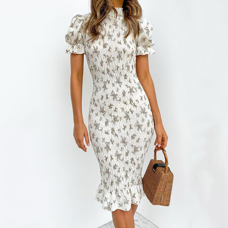 Women Boho Floral Print Folds Dress Bodycon Pleated Puff Sleeve Slim High Waist Female Midi Dresses 2020 Summer Lady Beach Dress