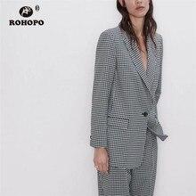 ROHOPO One Buttons White & Black Tiny Plaid Slim British Blazer Autumn Grey Dress Veste # 1435