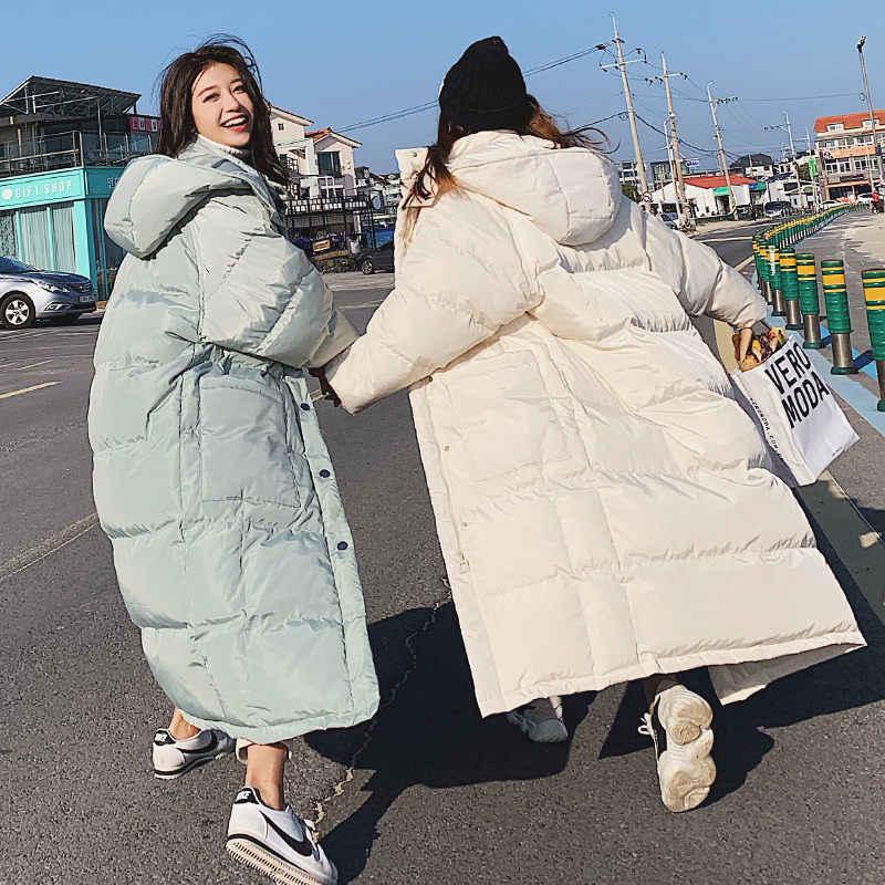 Gevşek Kapşonlu Pamuklu Giyim Kadın x-uzun Ceket Kış Ceket 2019 Yeni Aşağı Pamuk Yastıklı Ceket Sıcak Parka Palto büyük Boy f1894