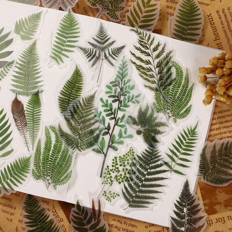 40Pcs/Pack Vintage Big Plant Leaves Vellum Sticker DIY Scrapbooking Album Junk Journal Decorative Stickers