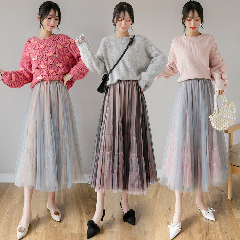 Photo Shoot Skirt Autumn And Winter Women's Big Skirt New Style High-waisted Gauze Skirt Mid-length Mesh Dress Fairy Skirt Contr