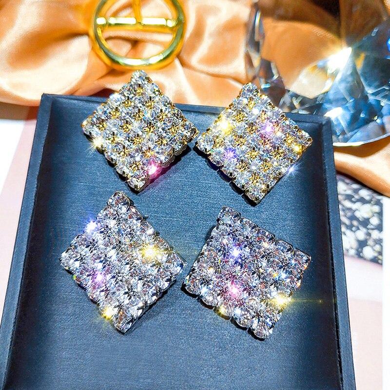 Large and Small Circle Long Dangle Earrings Korean Zircon Flash Earrings for Women 2020 Female Fashion Jewelry Drop Earings