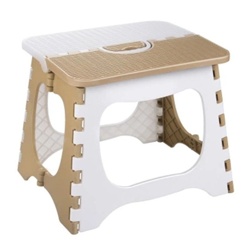 TOP!-Plastic Folding Stool Thickening Chair Portable Home Furniture Children Convenient Dining Stool-Coffee + White