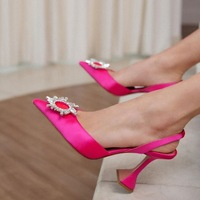 2021 European and American new pointed toe ladies high heels diamond decoration banquet shoes 1
