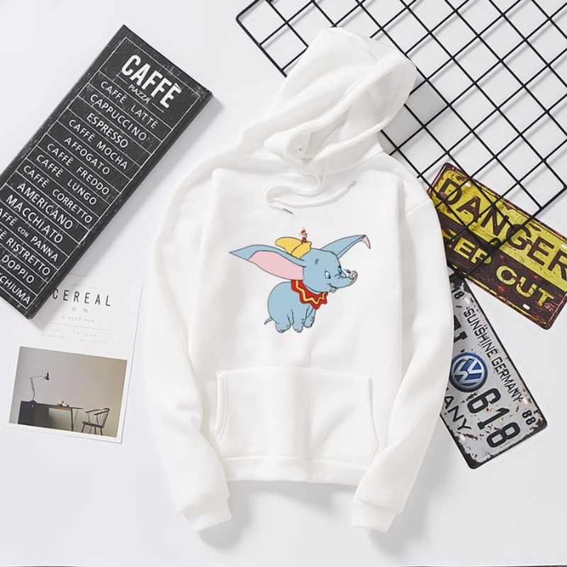 Fashion Womens Hoodies Pullover Cartoon Animal Dumbo Elephant Sweatshirt Women Long Sleeve Tops Streetwear Girl Women Hoodies