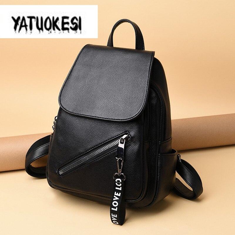 2020 Women's Backpack High Quality PU Leather Flip Zipper Backpacks For Teenager Girls School Bag Ladies  Mochilas Feminina