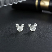 Silver Romantic Round Mouse Earring Female Charm Stud Earrings Women Jewelry Girls Kid Birthday Gift Cute Animal Earrings(China)