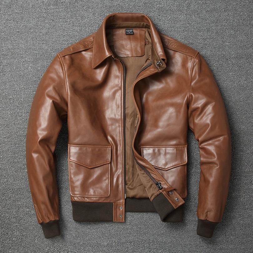 H1992a6c9afa9402587a6c0e495233ce86 Free shipping.Warm Mens classic genuine leather Jacket,quality men's vintage flight jackets.Eur Plus size Casual A2 coat.sales