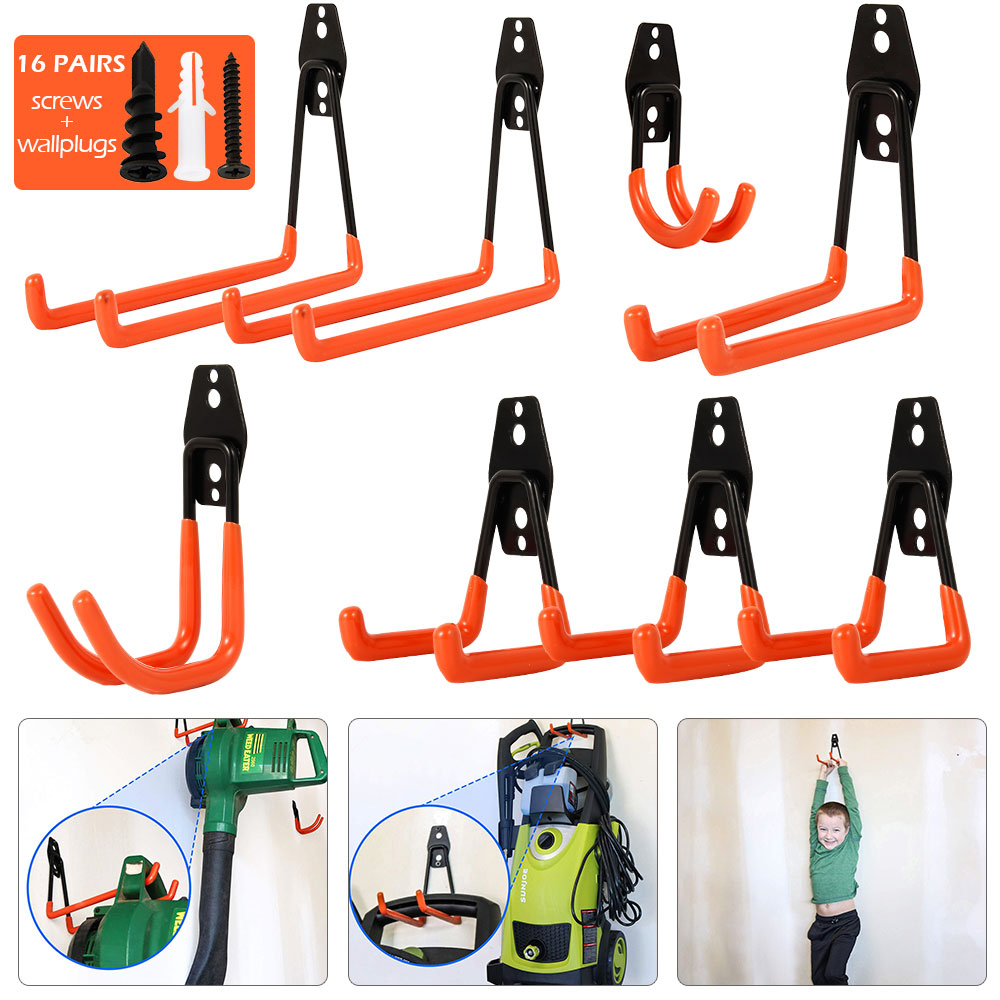 Wall-mounted Garage Hooks Set Bicycle Hanger Hook Hanging Tool Metal Hook Warehouse Storage Tool Garden Bathroom Storage Hanging