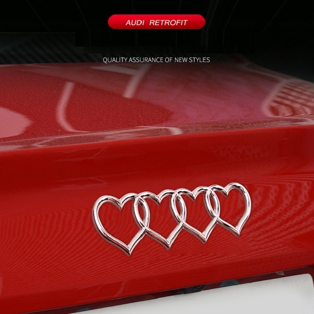 For Audi A3 A4 B8 A5 A6 A8 Q3 Q5 Q7 TT RS3 RS5 RS8 TIK Tok Rear Trunk Badge Emblem Replacement Styling Love Heart Decal Sticker