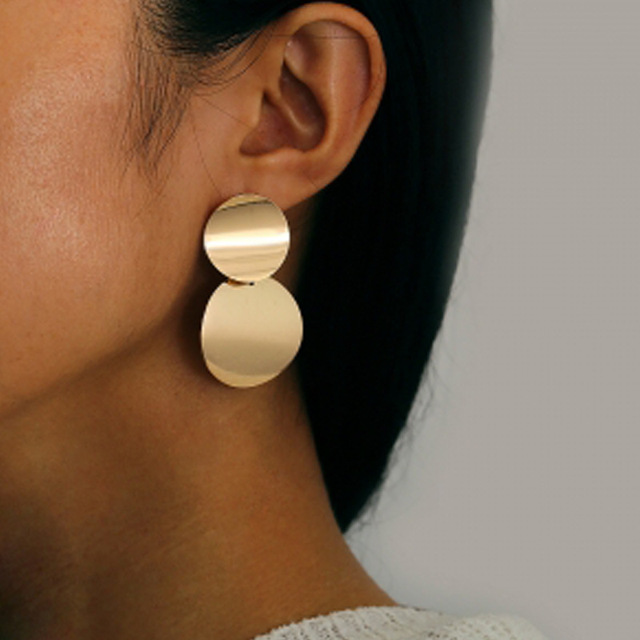 New Fashion Round Dangle Korean Drop Earrings for Women Geometric Round Heart Gold Earring 2019 Trend.jpg 640x640 - New Fashion Round Dangle Korean Drop Earrings for Women Geometric Round Heart Gold Earring 2019 Trend Wedding Jewelry