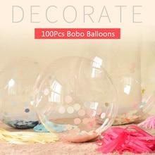 100 pièces 5to36Inch aucune ride Bobo ballons transparents PVC ballon fête d'anniversaire décoration hélium ballons gonflables