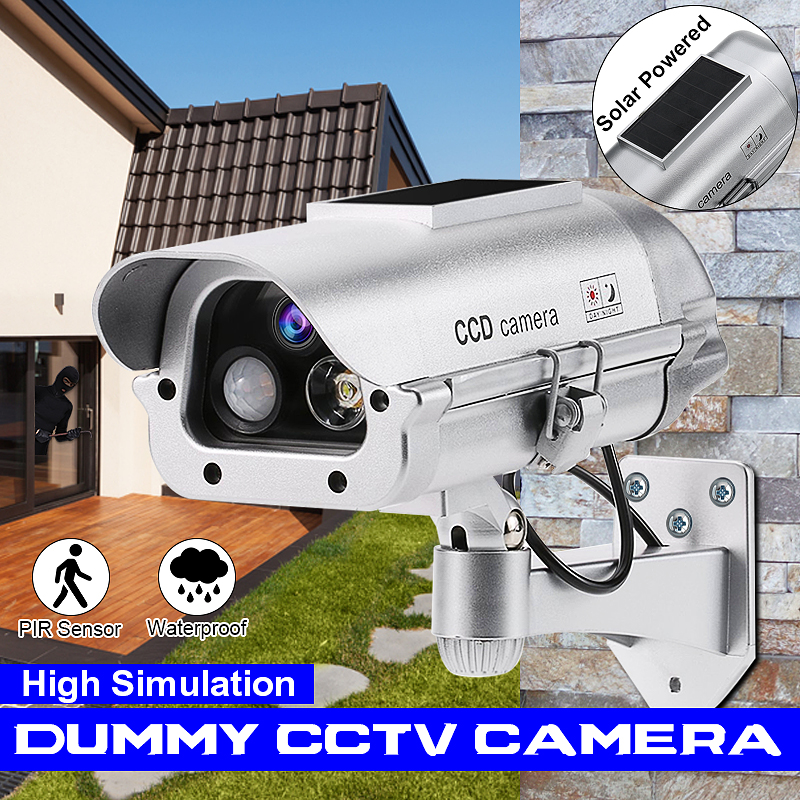 KCASA Simulation Dummy Fake Camera Solar Powered Waterproof Outdoor Indoor Security CCTV Surveillance Bullet Flashing LED Light