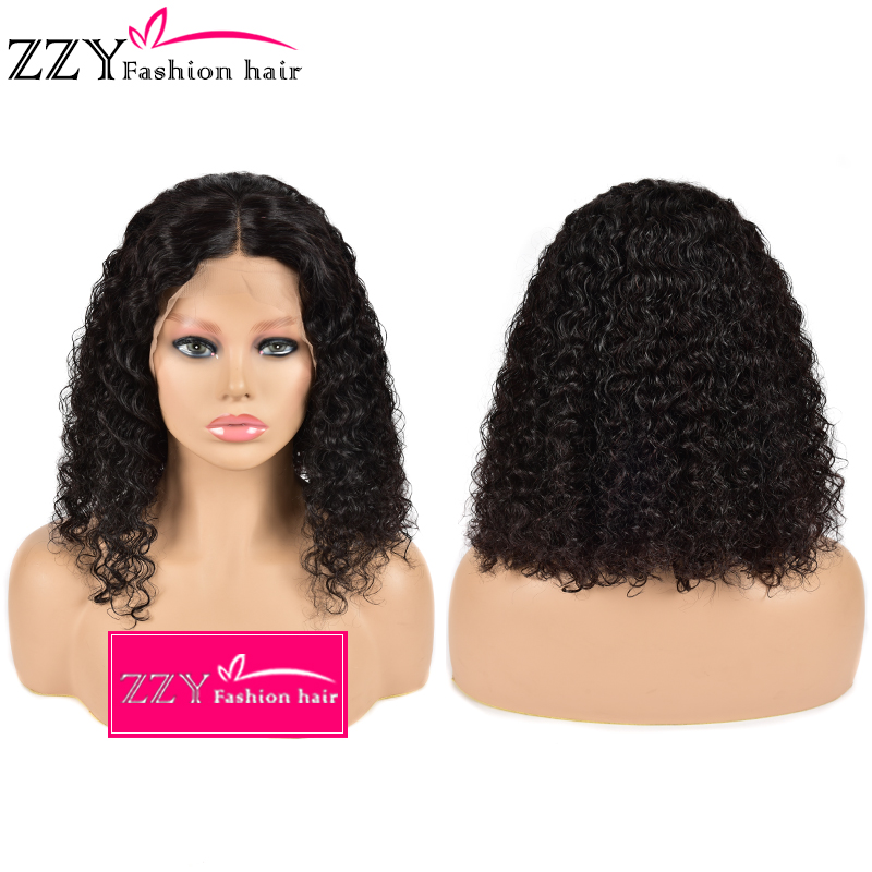 ZZY Fashion Hair Curly Bob Lace Front Human Hair Wigs 150% Density Natural Color Non-remy Brazilian 13x4 Lace Frontal Wig