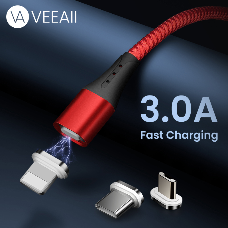 VEEAII 1m 2M 3A Magnetic Micro USB Cable Charging Type C Charger Data Wire Cord for Iphone Samsung Xiaomi Mobile Phone