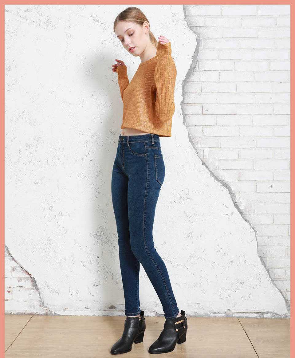 Autumn Winter Women Denim Skinny Pants Super Stretch Fake Front Pocket Waist Blue Grey Black White Slim Elastic Lady Jeans 7