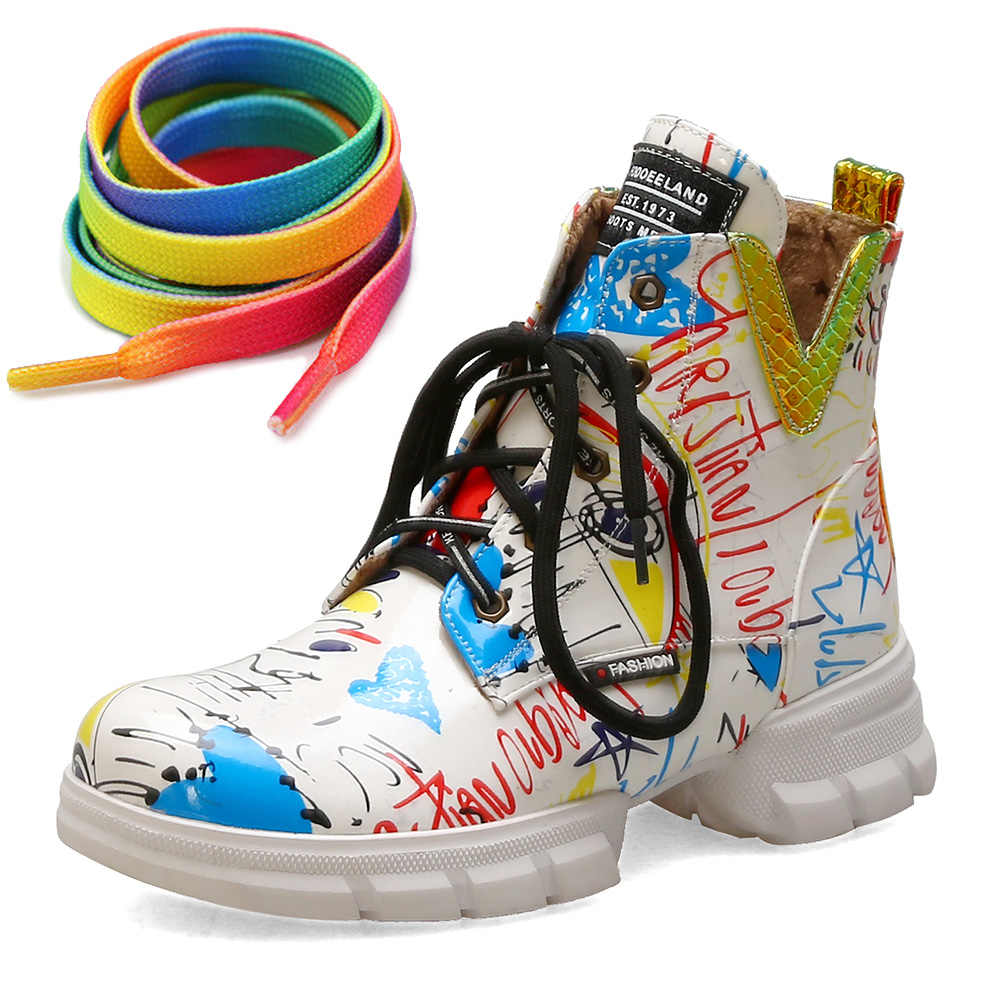Kadın marka yeni kış büyük boy 43 rahat ayakkabı bağcığı kadın yarım çizmeler moda ayakkabılar kadın günlük çizmeler kadın ayakkabı