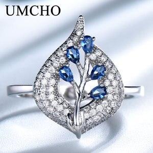 Image 2 - UMCHO S925 Sterling Silber Ringe für Frauen Nano Sapphire Ring Edelstein Aquamarin Kissen Romantische Geschenk Engagement Schmuck