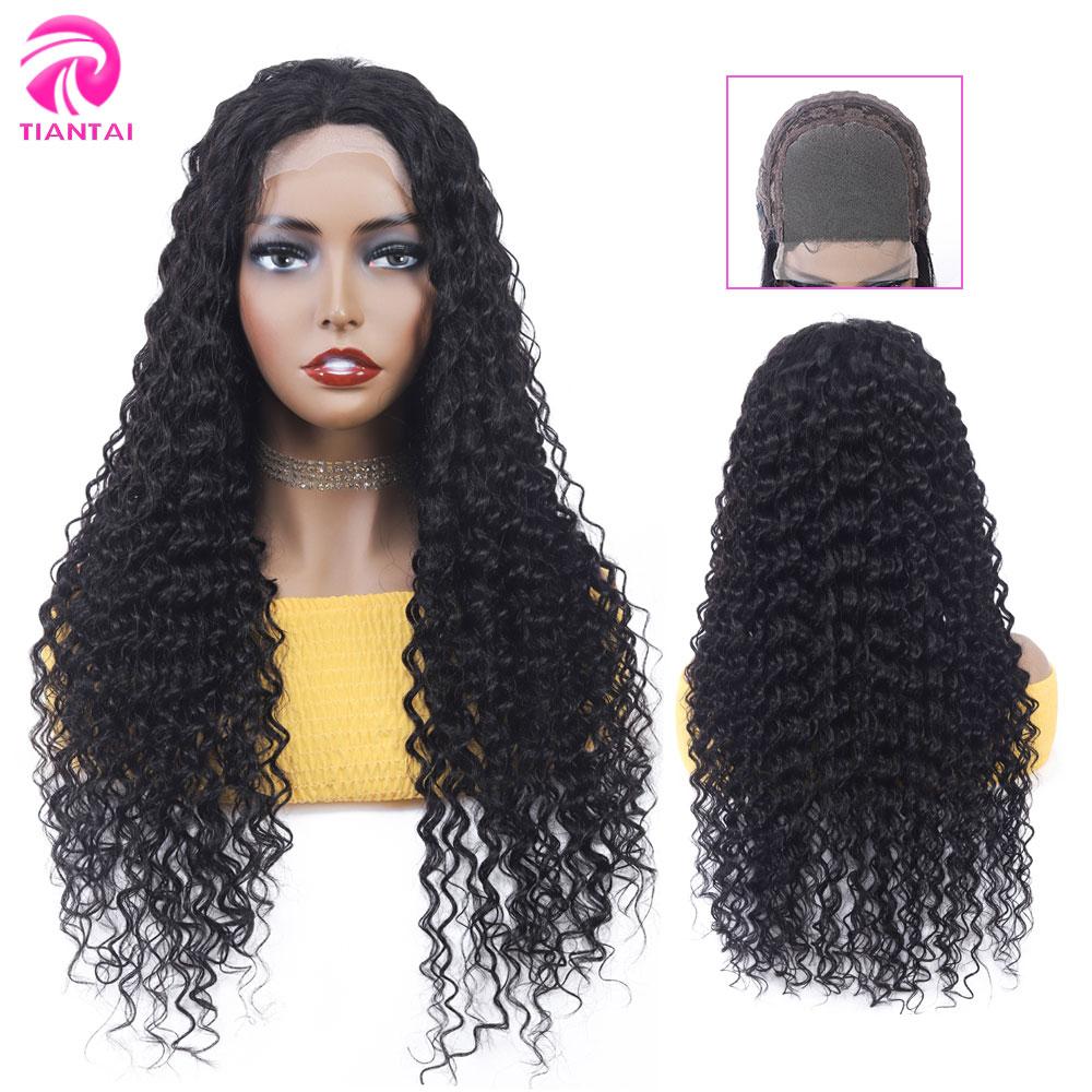 TIANTAI 4*4 dentelle fermeture perruque vague profonde perruque cheveux humains perruques dentelle perruque pour les femmes noires 180 densité 10-26 pouces brésilien Remy