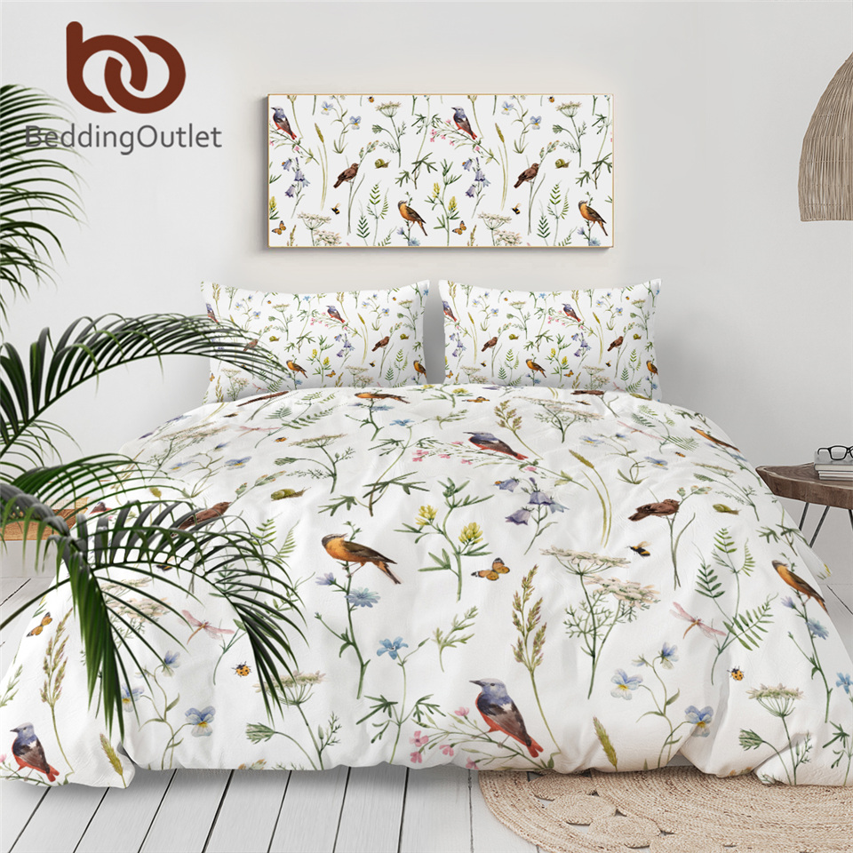 Beddingoutlet Bedspreads Comforter-Cover Watercolor Botanical Birds Butterfly Insect title=