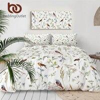 BeddingOutlet Watercolor Floral Bedding Set Butterfly Birds Bedspreads Botanical Duvet Cover 3pcs Leaf Insect Comforter Cover