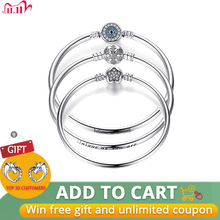 BISAER 925 Sterling Silver Pulseira Snowflake Bangles 925 Heart Snake Chain Clasp femme Silver bracelet for Women Jewelry