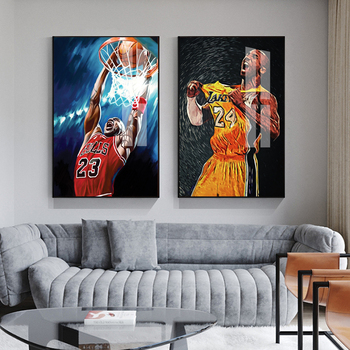 Modern Basketball Star Canvas Painting Kobe Bryant Michael LeBron James Posters Boy Room Wall Art Picture Living Room Decoration image