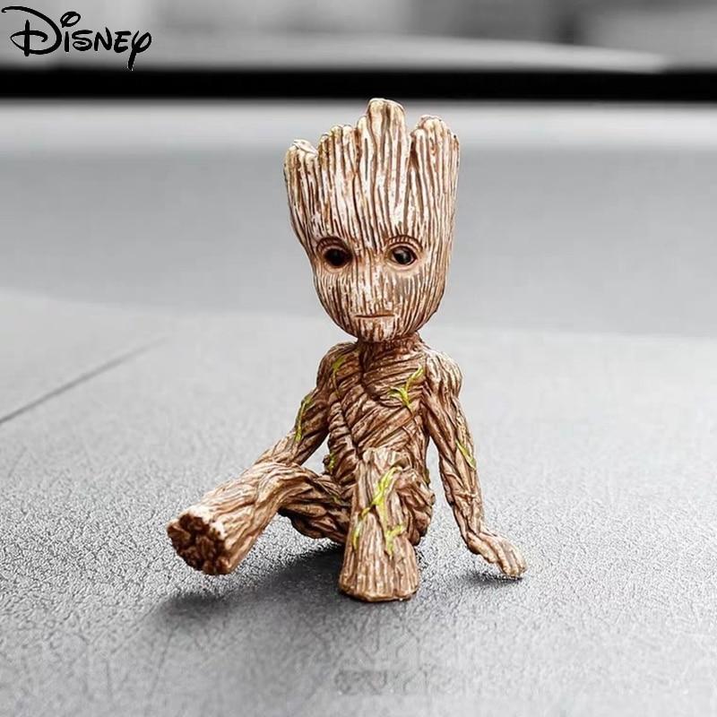 Disney arbre homme Groot 6CM figurine modèle Marvel Avengers jouets Mini jouets gardiens de la galaxie Figure assis Groot jouets